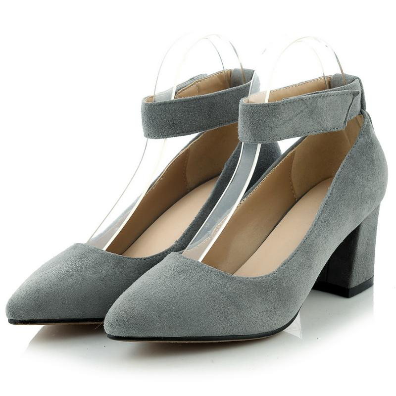 spring new Mary Janes pump women sheepskin genuine full grain leather 6 cm thick heel pumps 2016 black gray ladies office shoe<br><br>Aliexpress