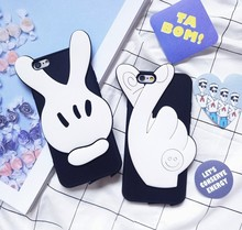 Hot Sale FOR IPHONE 6S TOP SOFT Silicone Cute Victory Sign THE Love Sign Mobile Phone Cover FOR IPHONE 6 6S 4.7 INCH