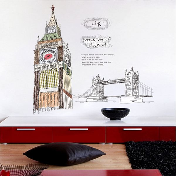 60x90cm Cre-ative Design London Bell Towel Wall Sticker PVC Removable Modern Romantic Home Room Decorative(China (Mainland))