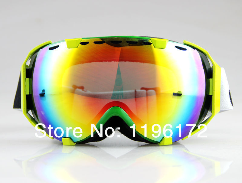 Гаджет  Free Shipping YELLOW GREEN FRAME COLOURED LENS SKI SNOWBOARD GOGGLES MOTOCROSS DOUBLE LENS None Спорт и развлечения