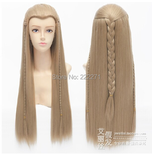 FREE SHIPPING Anime 70cm The Hobbit Legolas full Lace Cosplay Wig Costume Heat Resistant + Cap