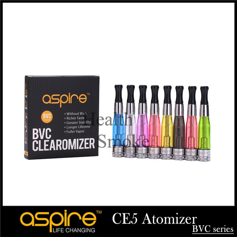 10pcs Original Aspire CE5 BDC BVC Clearomizer 1.8ml Bottom Replaceable Ecigarette Atomizer Aspire CE5 510 eGo muti colors(China (Mainland))