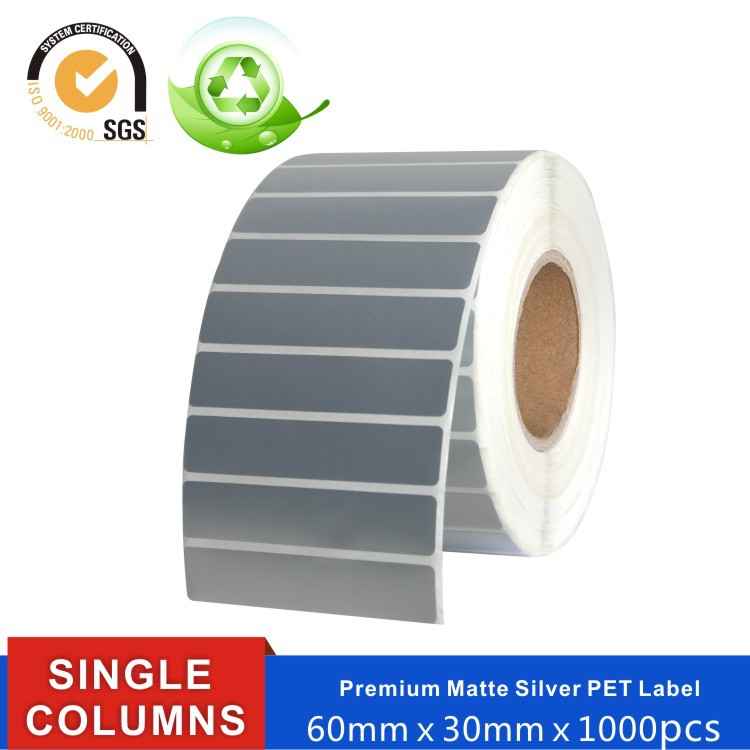 hermal transfer barcode printer blank white paper tags PET waterproof custom stickers package label(China (Mainland))