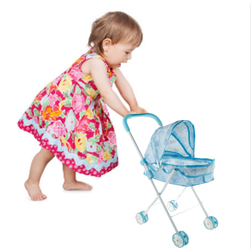 Mini Sturdy Blue Printed Foldable Adorable Baby Doll Trolley Stroller with 4 Swivel Wheels Pushchair Kids Toys Gifts