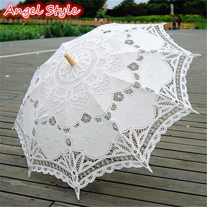 Best Quality vintage wedding decoration wood frame beige lace parasol cotton wedding umbrella handmade parasols for sale(China (Mainland))