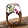Real Flower Wooden Resin Rings Vintage Handmade Unique World Inside Secret Ring Luxury Brand Jewelry Women