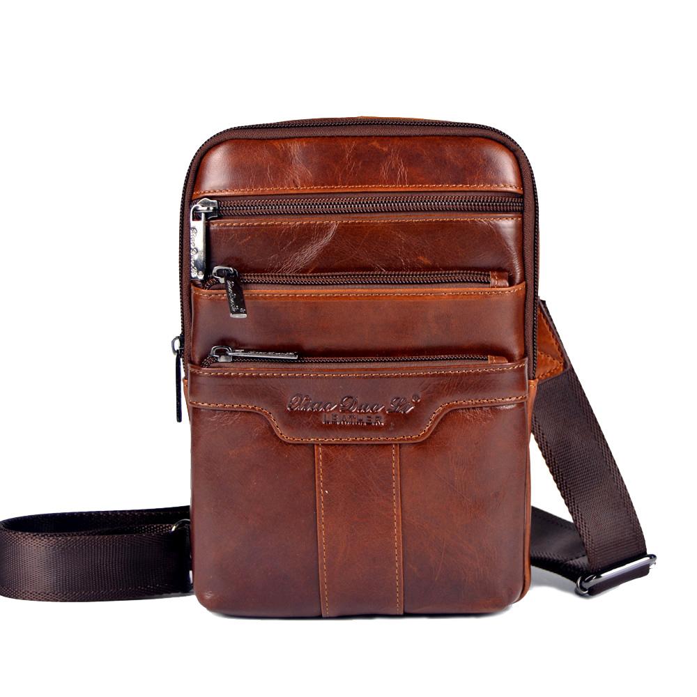 Gold Coral Genuine Leather Messenger Bags For Men Shoulder Bags Male C