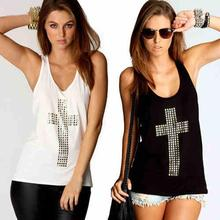 European Women Sleeveless Scoop Neck Cross Vest Tank Tops Hollow Back T Shirt Summer L4
