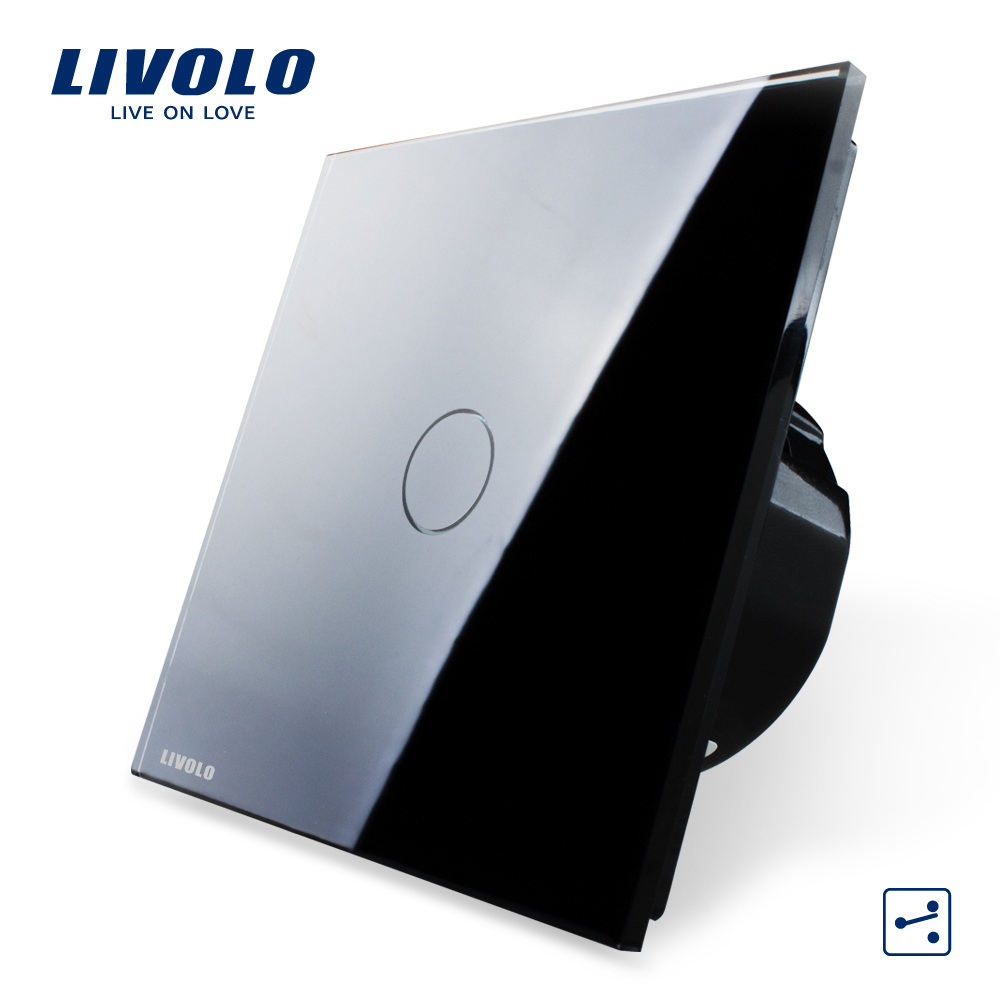Гаджет  Free Shipping, Livolo EU Standard,VL-C701S-12,1 Gang 2 Way Control, Crystal Glass Panel,  Wall Light Touch Screen Switch None Свет и освещение