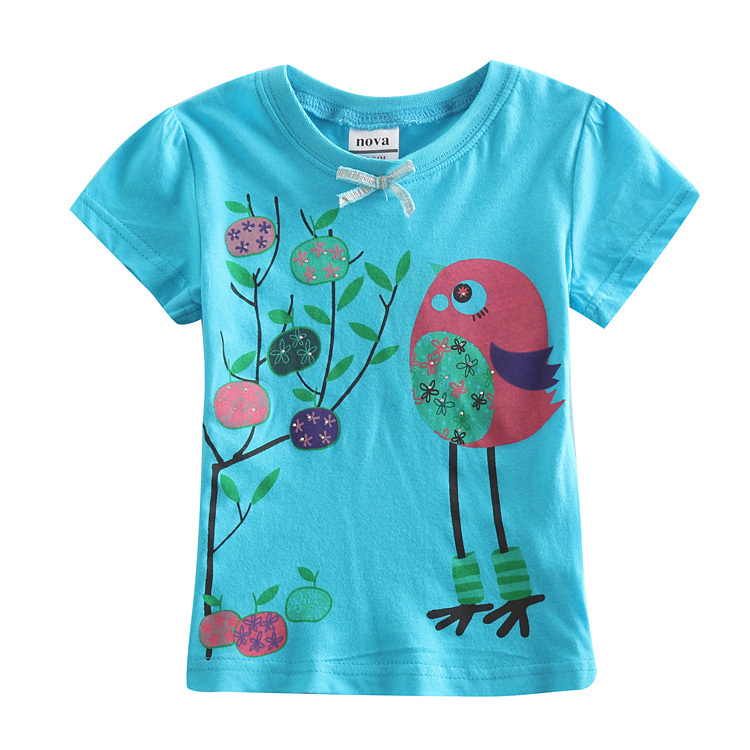 FREE SHIPPING K4020# NOVA baby wear new2013  children clothing  printed lovely bird  short sleeve girls summer T-shirt 4 colors<br><br>Aliexpress