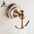 Hot selling Bathroom Accessories European Antique Bronze ceramic Robe Hook Clothes Hook Coat Hook Bathroom Products