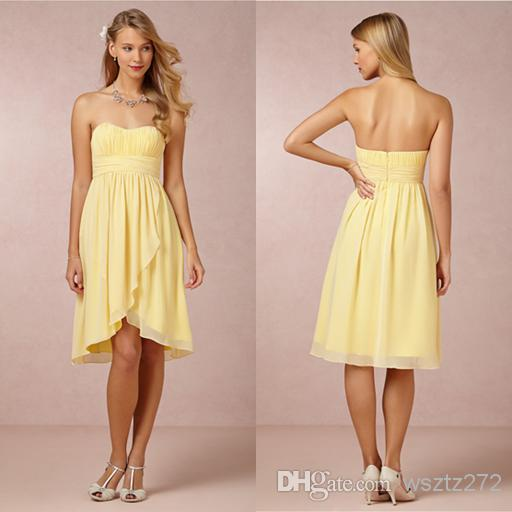 Milk yellow strapless chiffon short bridesmaid dress for Night dress for wedding night