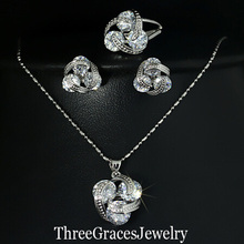 New Style 925 Sterling Silver Jewellery Units Clear Cubic Zirconia Diamond Knot  Earrings Necklace And Ring Set For Ladies JS124
