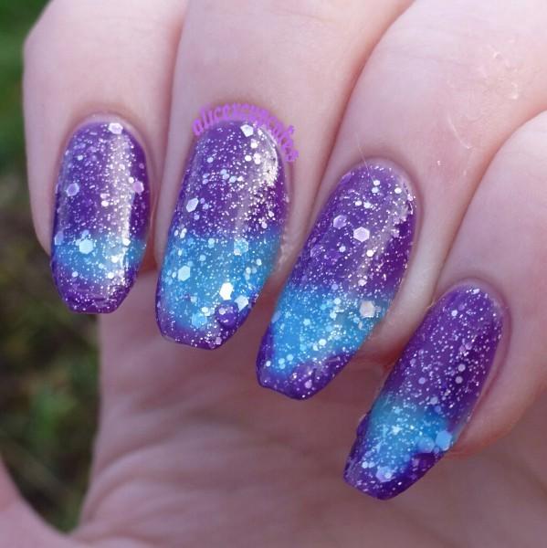 SkyСиний, Фиолетовый Цвет Меняется Лак Для Ногтей Тепловой Ногтей Температура 1 Бутылка ...