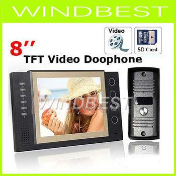 Luxury Intercom 8 Inch TFT Monitor LCD Color Video Door Phone Doorphone Record Video 11 DoorBell Rings System IR CMOS Camera