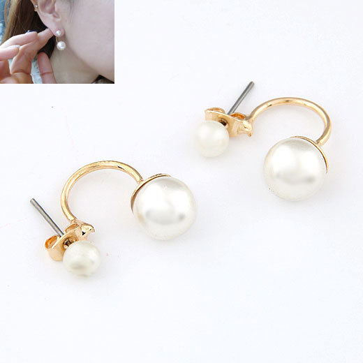 Pearl Stud Earrings Designs Double Pearl Stud Earrings