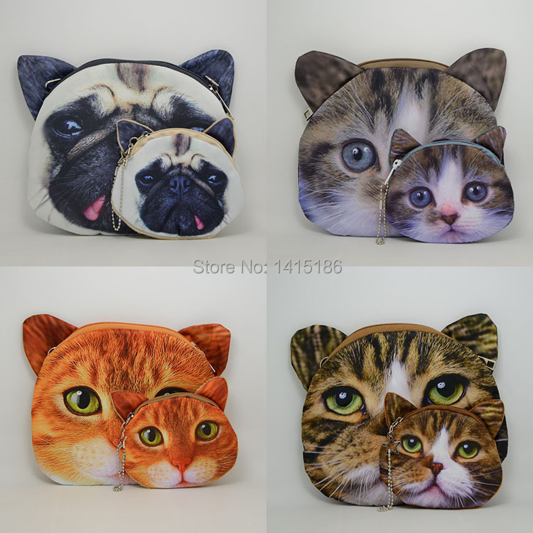 Fatory Direct Shopping! Printing  artwork bag dog cat head  bag wallet lady bag shoulder bagsMother and child package(China (Mainland))