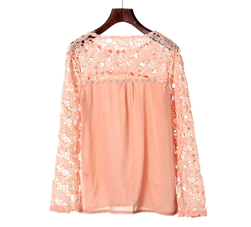 Hot Marketing 1PC Women Lace Crochet Embroidery Tops Long Sleeve Shirt Casual Blouse June30(China (Mainland))