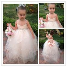 Toddler boule robes robe De demoiselle robe De Daminha Puffy Tulle avec perles De cristal bretelles Bowknot petites filles Pageant robe(China (Mainland))