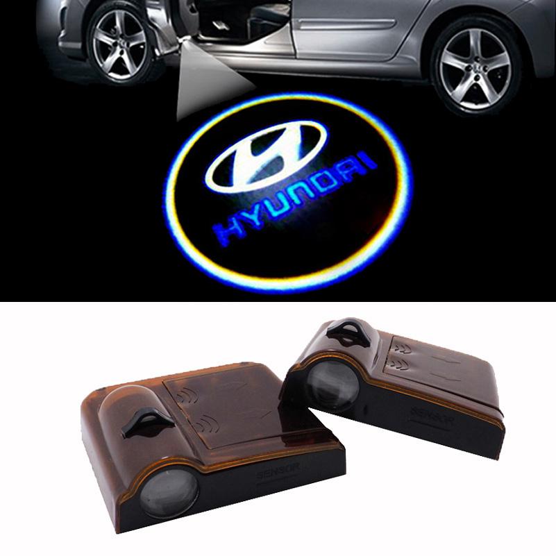 2PCS LED car logo laser projector light for hyundai I20 I30 I35 I40 tiburon atos tucson getz elantra santa fe accent solaris(China (Mainland))