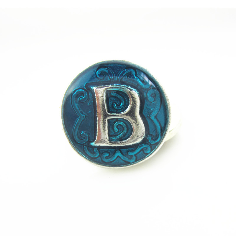 Hot selling 10pcs/lot enamel alphabet letter B metal snap buttons for snaps bracelets bangles charms fit button jewelry(China (Mainland))