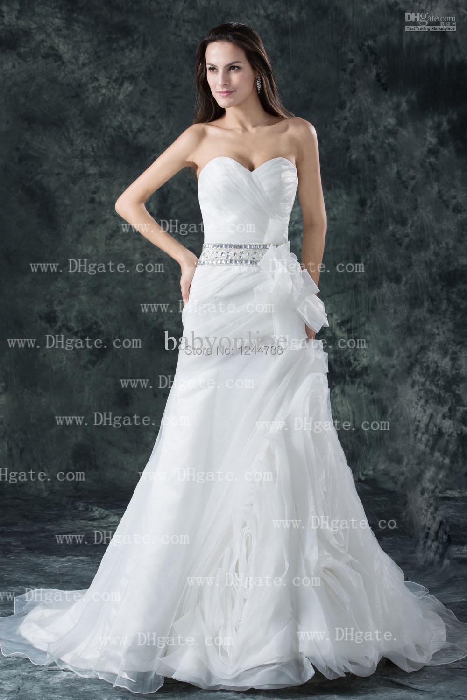 New dhgate sweetheart a line sleeveless beaded belt for Www dhgate com wedding dresses