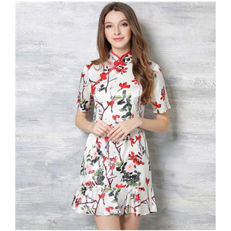 Chinese dress mandarin collar short sleeve flowers print cheongsam white mini dresses women summer style plus size clothing(China (Mainland))