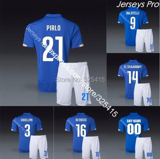 Completini maglia di calcio italia 2014 coppa del mondo italy soccer jerseys uniforms football kits Pirlo balotelli el shaarawy(China (Mainland))