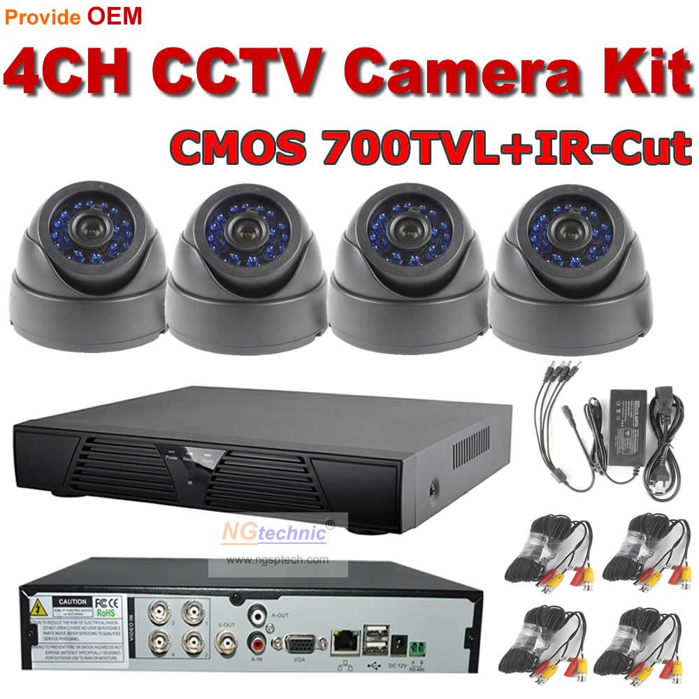 Free Shipping NGtechnic HDMI 1080P H.264 Network DVR cctv system 4ch cctv kit+4pcs 700TVL IR-cut Dome cameras 24pcs Blue IR Leds<br><br>Aliexpress