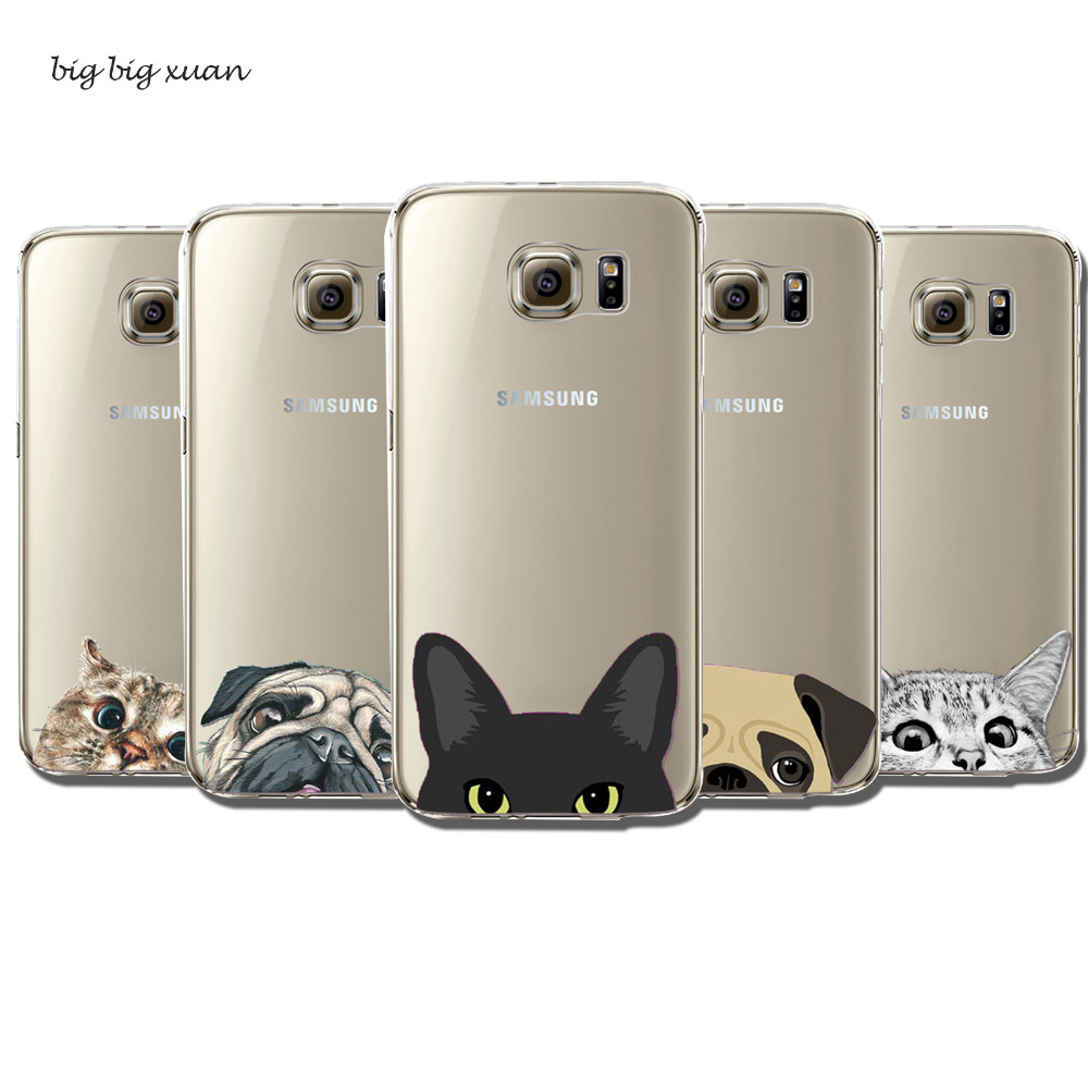 Newest Cute Soft Clear Phone Cases for Samsung Galaxy S6edge Fashion UltraThin Funny Cat Dog Back Covers Factory Price Wholesale(China (Mainland))