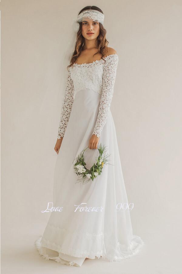 Boat neckline lace wedding dress images for Boat neck long sleeve wedding dress