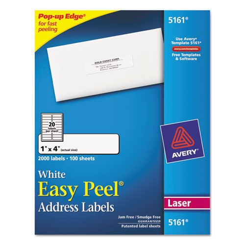 Easy Peel Laser Address Labels, 1 x 4, White, 2000/Box(China (Mainland))