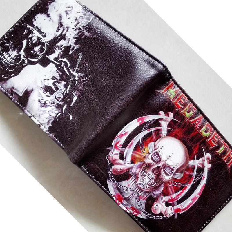 Music Band Thrash Metal Megadeth Skull LOGO wallets Purse 12cm Leather W191<br><br>Aliexpress