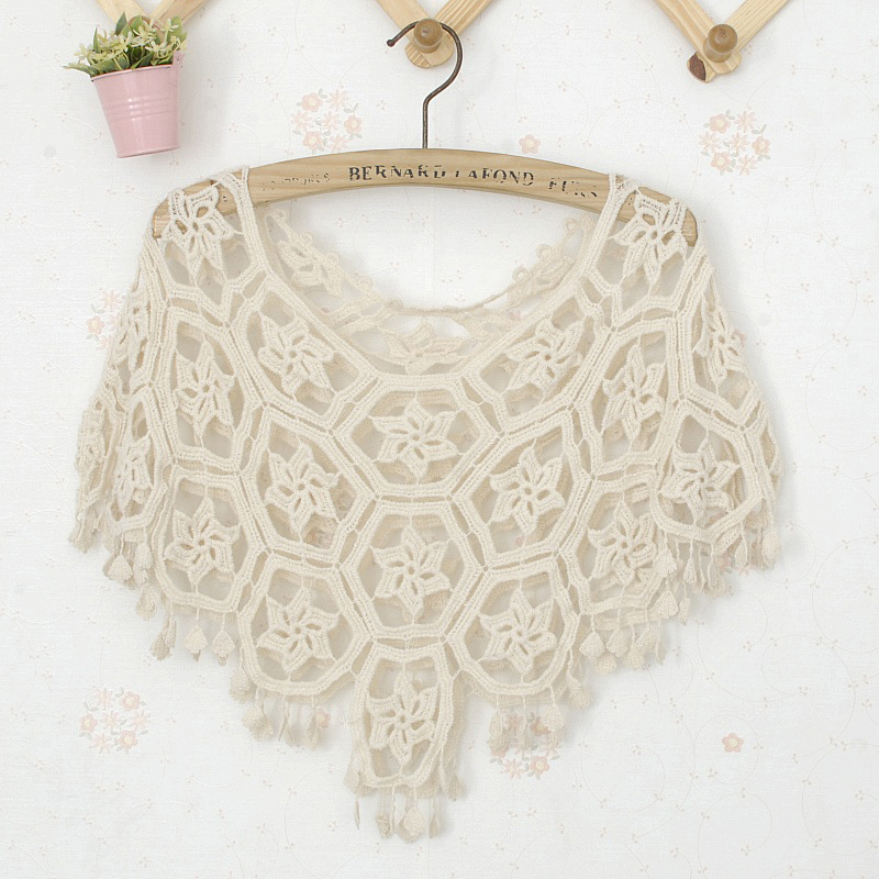2016 new women summer fall crochet cloak shawl short crocheting lace floral poncho scarves ladies kniting Z0560()