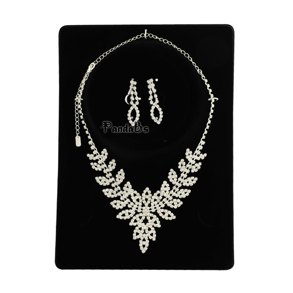 Silver Tone Brass Rhinestone Claw Chain Wedding Jewelry Sets, Bib Necklace and Clip on Earrings, with Alloy Lobster Claw Clasps(China (Mainland))