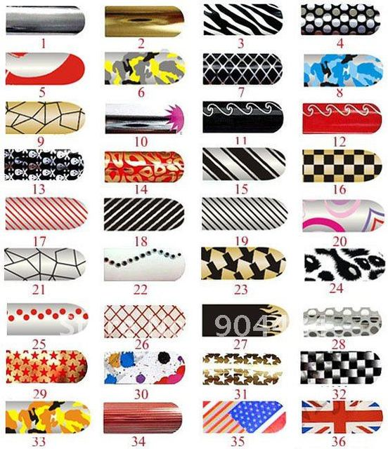 FREESHIPPING Wholesale Nail Foils Sticker set/36sheet Nail Art Stick Nail Patch 3D Nail Sticker-008