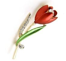 Décoratif cristal broche accessoires de vêtement bijoux broche Tulip(China (Mainland))