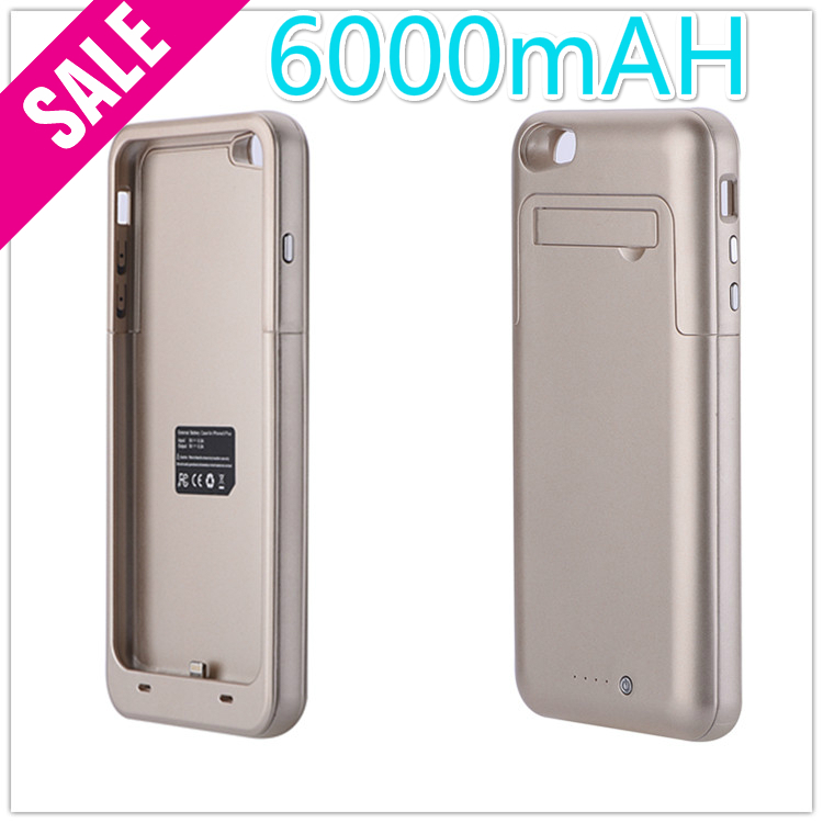 Free Shipping colorfull with stand Battery Case for iphone6 plus wholesale Power bank 6000 mah Manufacturer 6 months Warranty(China (Mainland))