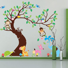 Cartoon Animal Tree wallpaper 3D vintage child vinyl wall sticker home decor decoration for kids rooms adesivo de parede posters(China (Mainland))