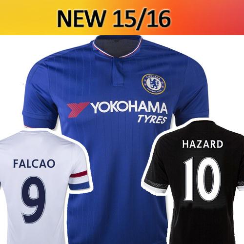 Free shiping 15/16 Chelsea survetement football shirts fc soccer jerseys 2015 2016 hazard falcao DIEGO COSTA home away third kit(China (Mainland))