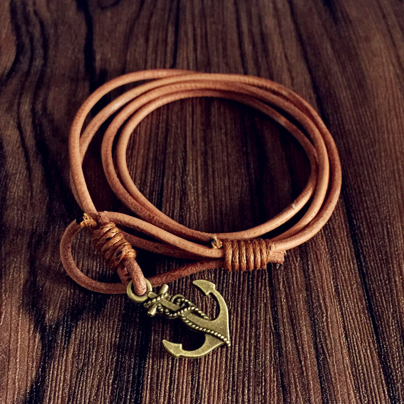 New fashion accessories jewelry real Bovine Leather anchor chain bracelet gift for women men lovers' gift B3460(China (Mainland))