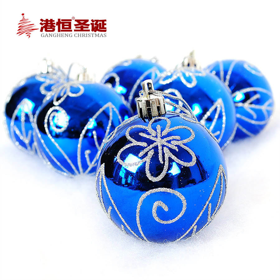6pcs Shinning Blue Christmas Tree Balls Diameter 6cm Silver Plating Decorations Ball Xmas Party Wedding Ornament XmasB051(China (Mainland))
