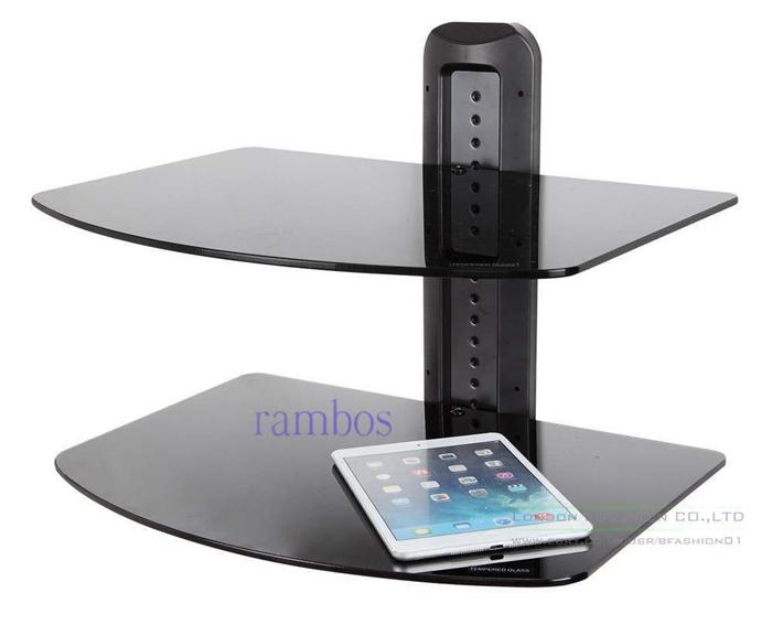 2 Tier Wall TV Component AV Glass Stand Shelf Mount DVD Receiver Rack - Black(China (Mainland))