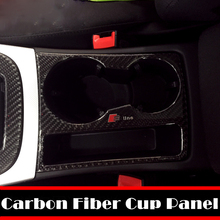Carbon Fiber Sline RS Quattro Water Cup Panel Sticker Holder Decorative Covers 3D Audi A4L Q5 A5 Car Styling - NEW WAY AUTO ACCESSORIES store