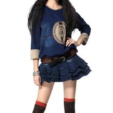 2016 Yuzi New Vintage Knitted Denim Sweatshirt  Patchwork O-Neck Color Blocks Loose  Women Sweatshirts B9023 Women's Clothing(China (Mainland))