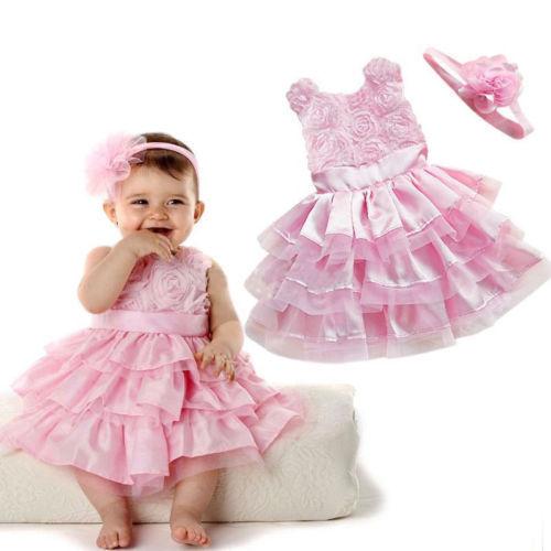 New Hot Rose Garden Pink Rosette Silk Dress Easter Flower Baby Girl Wedding New+headband Free Shipping(China (Mainland))