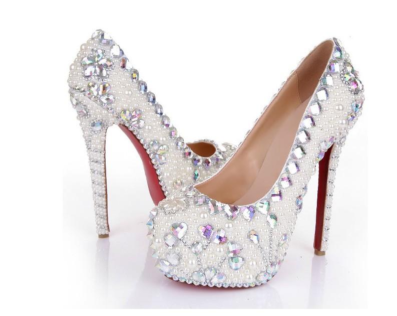 16cm high heel Women fashion white pearl crystal wedding shoes bride genuine stiletto shoes(China (Mainland))