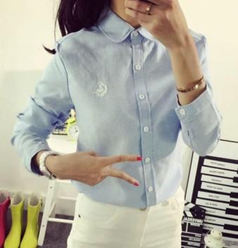 Hitz literary small fresh Swan embroidery all-match long sleeved shirt female cotton backing free shipping(China (Mainland))