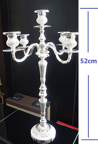wholesale10pcs/lot 52cm height wedding centerpiece floor candelabra silver plated metal candle holder candelabrum party supply(China (Mainland))
