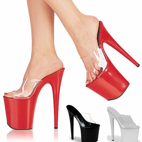 Summer Slides Transparent Women Sandals 20 CM Party Wedding High Heels Crystal 10 CM Platform Shoes Woman Big Size 35-46 Pumps(China (Mainland))